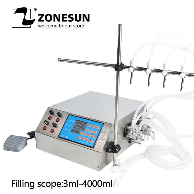 ZONESUN 4nozzle Bottle Water Filler Semi-automatic Liquid Vial Desk-top Filling Machine for Juice Beverage Soy Sauce Oil Perfume zonesun pneumatic a02 new manual filling machine 5 50ml for cream shampoo cosmetic liquid filler