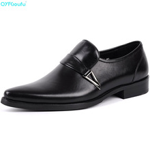 Brand 100% Genuine Leather Formal Mens Business Shoes Oxfords Handmade Designers Pointy Shoes Italy Slip On Dress Shoe