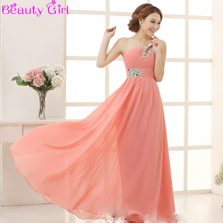 Elegant brief dress one shoulder cheap coral bridesmaids for Dresses for wedding bridesmaid
