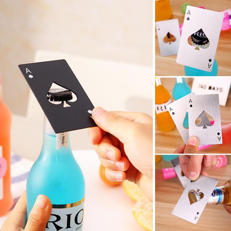 Poker Playing Card Of Spades Bottle Wine Opener Bar Tools Kitchen Accessories Soda Bottle Cap Opener Stainless Steel