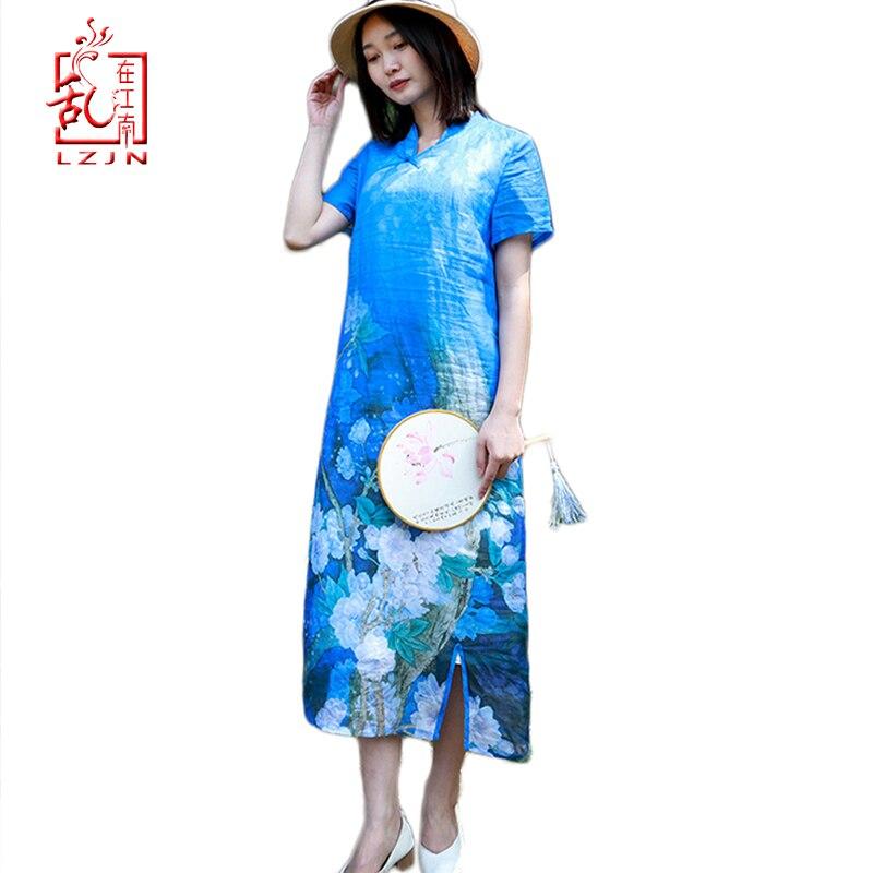 LZJN 2019 robe d'été pour femme en lin lin Cheongsam Qipao col chinois Style bleu Royal longue robe de soirée Vestido da festa