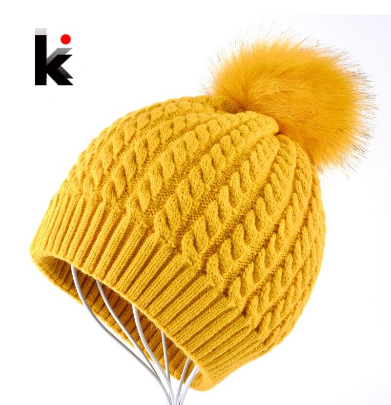 Beanies Women Winter Cap Thicker Hair Ball Knitted Hat High Quality Cap Woman Bonnet Warm Hut Gorrs Capuchons