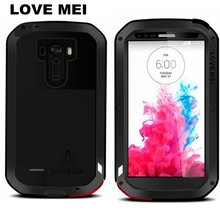 Original Love Mei Aluminum Metal Hybrid Shockproof Armor Waterproof Cover With Tempered Glass Case For LG G3 D855