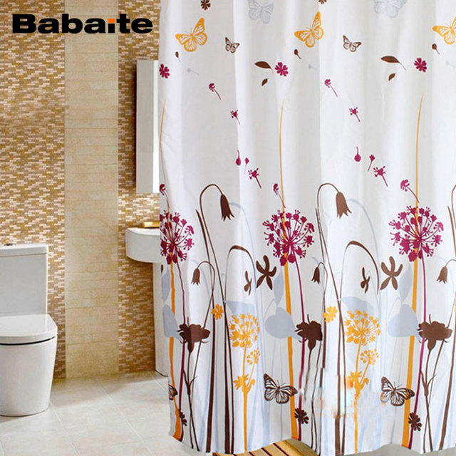Babaite Dandelion Butterfly Waterproof Moldproof Bathroom Shower Curtains  Polyester Eco Friendly Rideau De Douche With