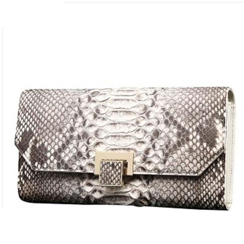 Shidifenni python Skin men clutch bag lady women bag big capacity dinner bag grey white hand hold bag