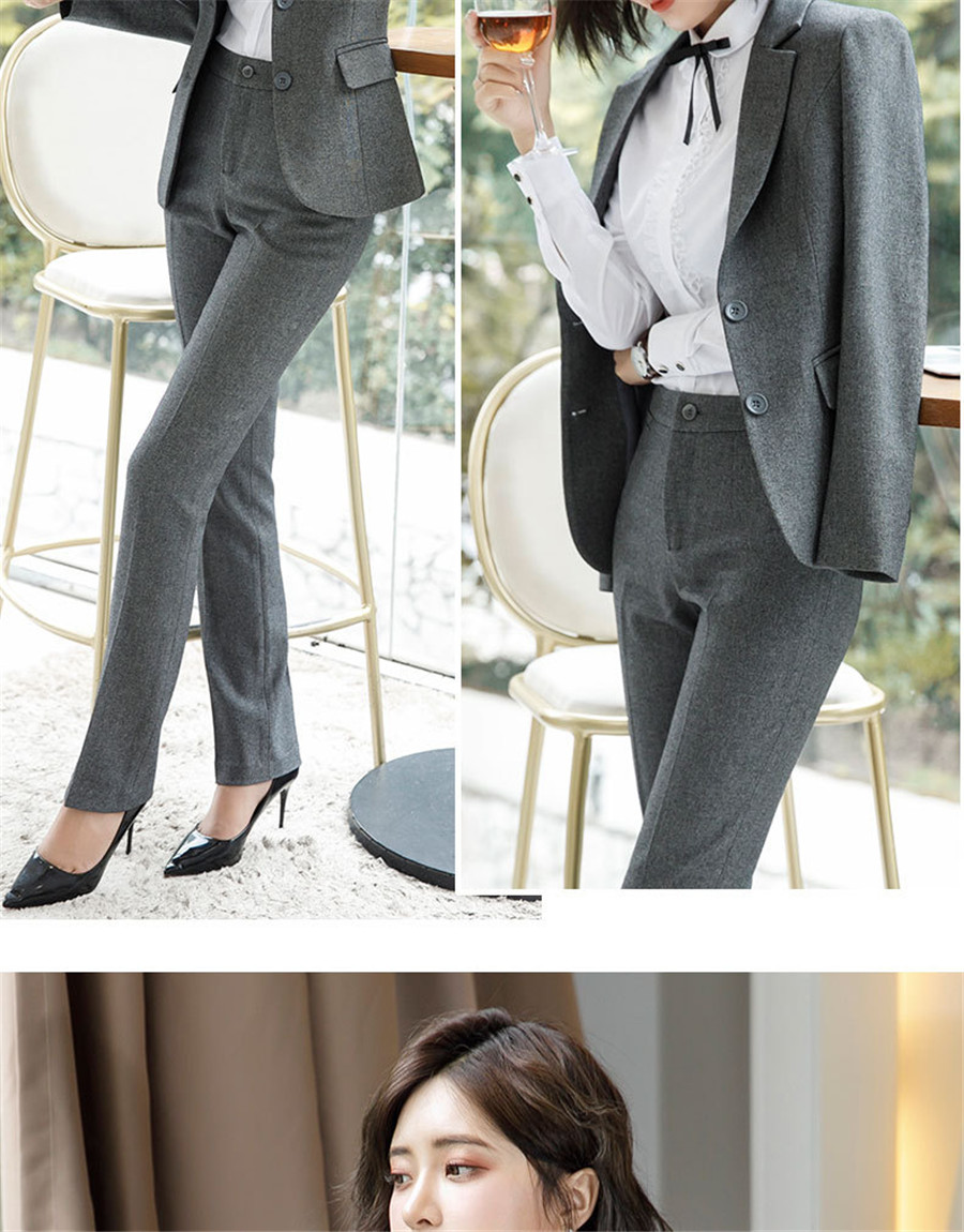 Work Fashion Pant Suits 2 Piece Set for Women singel Breasted solid color Blazer Jacket&Trouser Office Lady Suit Feminino 33