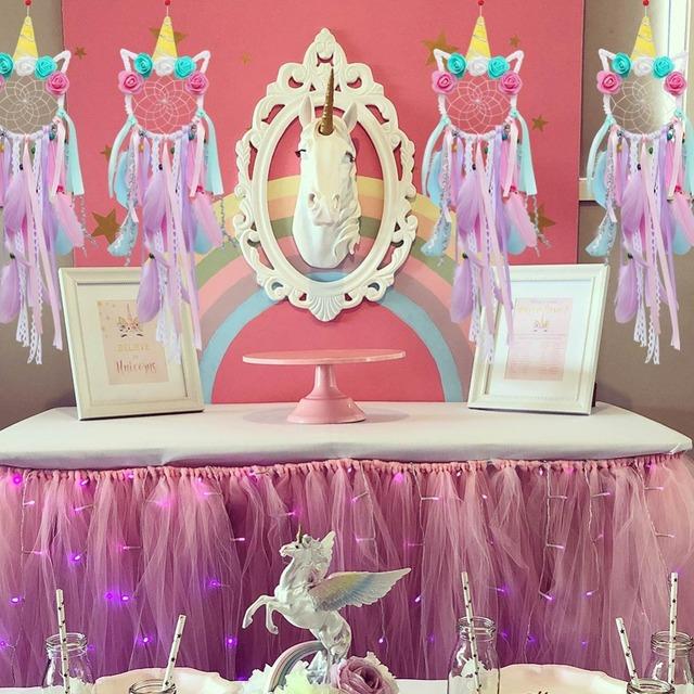 Unicorn Dream Catcher Girl Bedroom Wall Accessory Handmade Baby Shower Wedding Party Favor Supplies Gift
