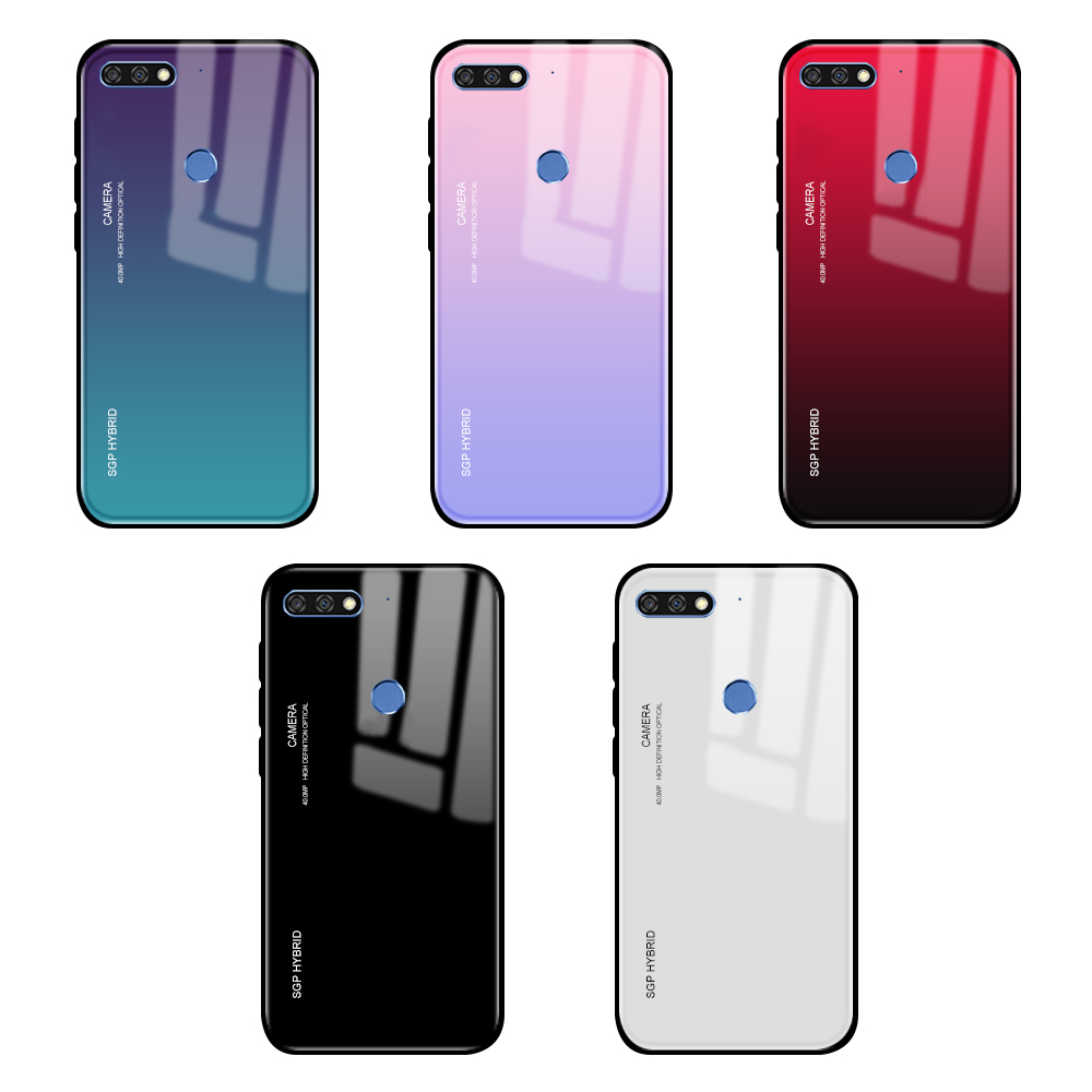 Gradient Tempered Glass Case for Honor 7C Covers on for Huawei Honor 7X 7A 7C Pro X7 C7 A7 Pro 7 A C X 7Apro 7cpro protect coque(China)