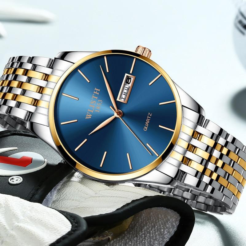 Men Watch 2019 Luxury Brand Stainless Steel Slim Waterproof Clock Fashion Analog Week Calendar Quartz Business Male Wristwatches