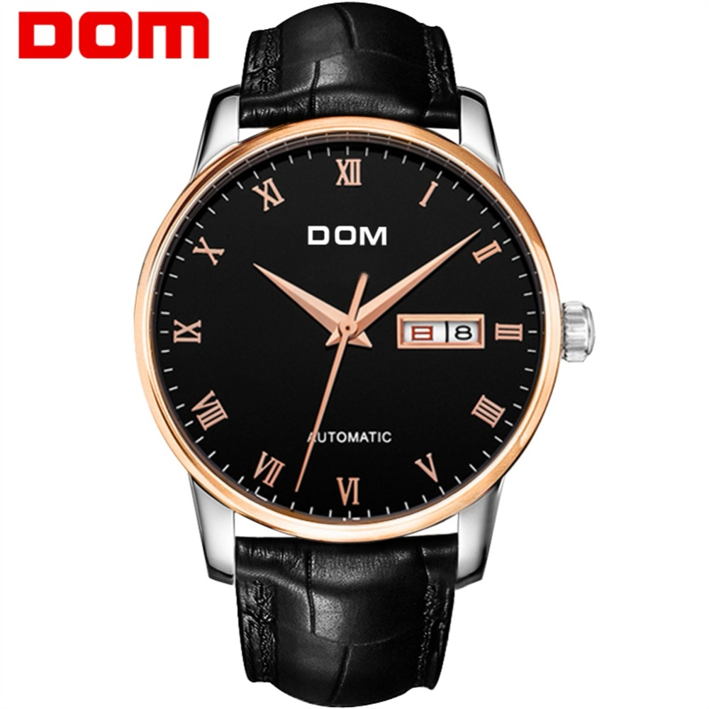 Men Watches DOM Mechanical Stainless Steel Watch Brand Luxury Waterproof Watch Fashion Business Male Wrist Watches M-57GL-1M цена 2017