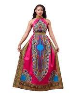 2016 Lato Mordern Długie Projekty Afryki Druku Sukienki Dla Kobiet Sexy Bez Rękawów Maxi Klub Sukienka Dashiki Stylu Wieczorem Plus Size