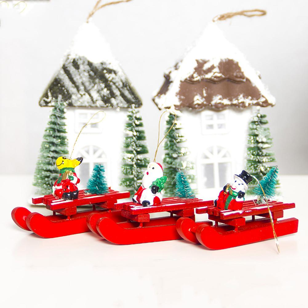 Wooden Christmas Sleigh Pendant Santa Snowman Christmas Decor ...