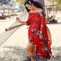 Incrível! 2016 mulheres chiffon maxi vestido de verão praia vestidos de slash neck floral impressão vestidos rode longue femme vestodi