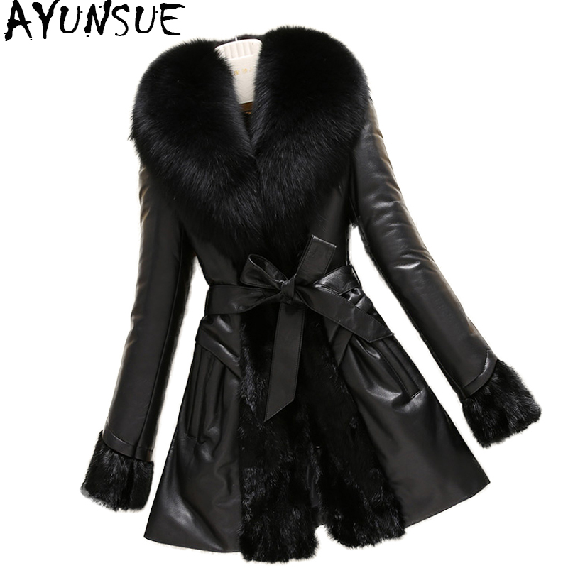 AYUNSUE Real Leather Jacket Patchwork Genuine Mink Coats Women Winter Sheepskin Coat Real Fox Fur Collar Plus Size 6XL 1554