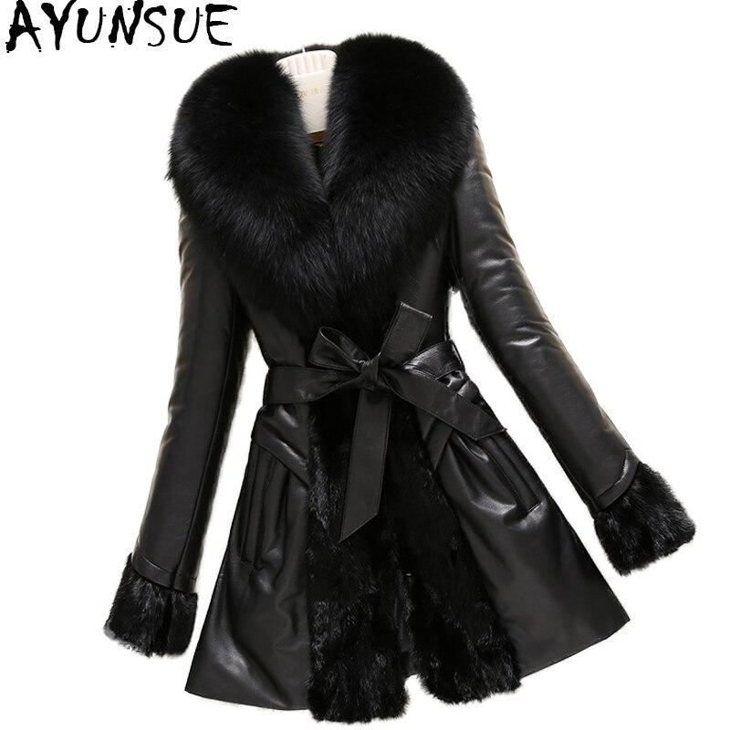 AYUNSUE Réel Veste En Cuir Patchwork Véritable Vison Manteaux Femmes Hiver Manteau En Peau de Mouton Réel Fox Col De Fourrure Plus La Taille 6XL WYQ1637