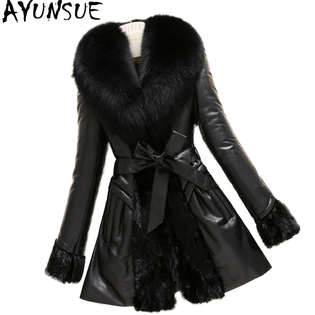 5cf7cb8a9b81 AYUNSUE Real Leather Jacket Patchwork Genuine Mink Coats Women Winter Sheepskin  Coat Real Fox Fur Collar Plus Size 6XL WYQ1637