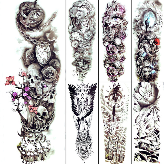 5a1a2f3d798a7 Old Pocket Watch Black Iron Chain Temporary Tattoo Dark Distorted Cranium  Tattoo Women Stickers Sexy Leg Arm Sleeve Tatoo Men