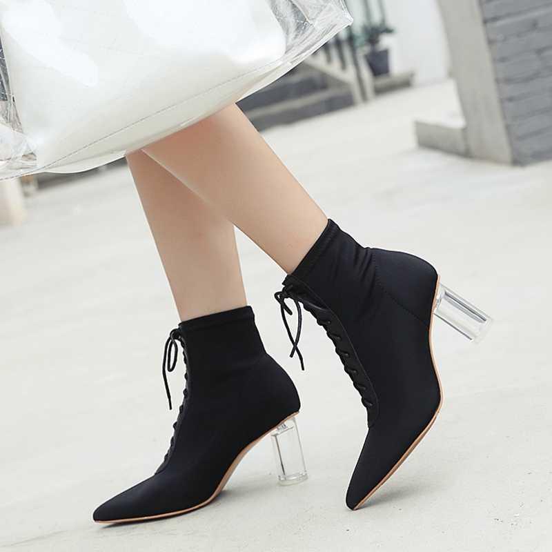 7.5 CM Topuklu Kadın Fermuar Çizmeler Streç Kumaş yarım çizmeler Kadın Moda Sivri Burun Bayanlar Seksi Kış Ayakkabı Bayan Punk Ayakkabı