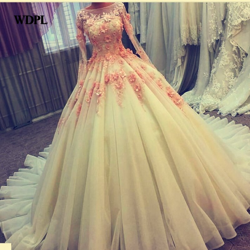 Real Photo   Evening     Dress   Ball Gown Boat Neck Full Sleeves Tulle   Evening     Dresses   Ivory Elegant Applique Vestido De Festa Longo
