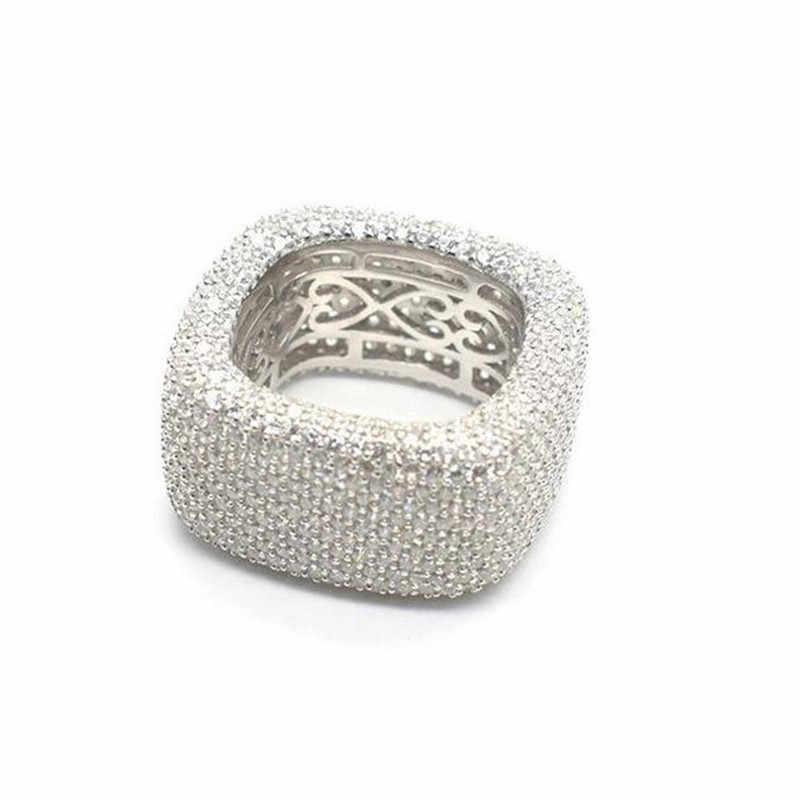 Choucong Handmade Hollow Finger แหวน 925 เงินสเตอร์ลิง Micro Pave 450Pcs AAAAA CZ แหวนแต่งงานแหวนผู้ชายเครื่องประดับ