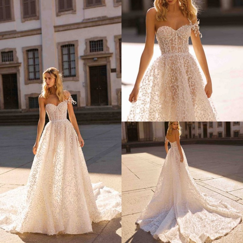 2020 Wedding Dresses Sweetheart Backless Lace Appliques Bridal Gowns Boho Country A-Line Wedding Dress Vestidos De Novia