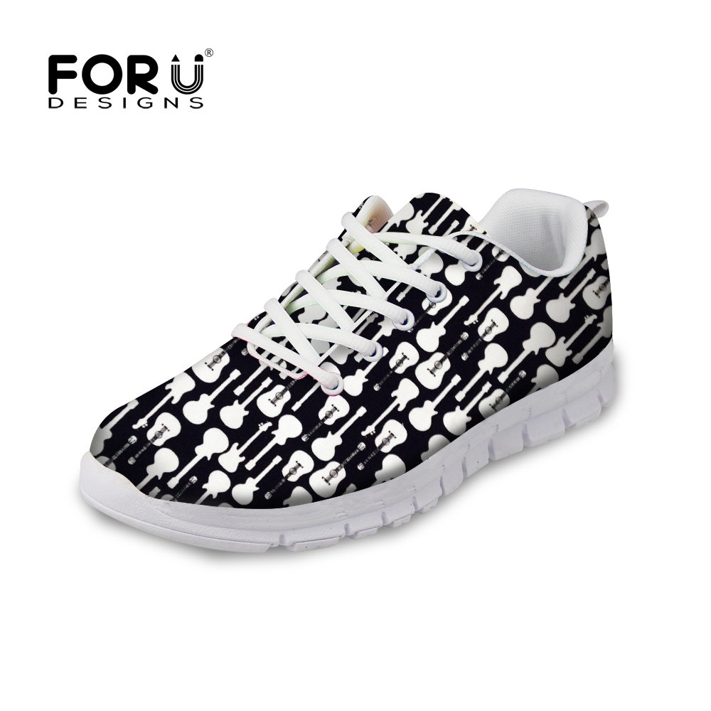 FORUDESIGNS 2018 Women Flats Shoes 3D Guitar Puzzle Prints Casual Brand Women's Sneakers Breathable Mesh Shoes for Teenage Girls instantarts women flats emoji face smile pattern summer air mesh beach flat shoes for youth girls mujer casual light sneakers