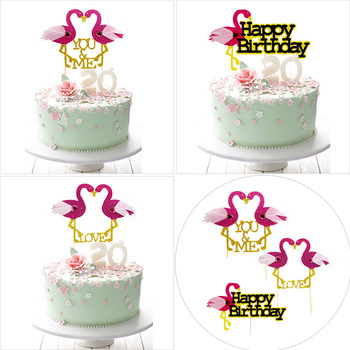 Lovely Diamond Flamingos Cake Topper Happy Birthday Cake Insert Pink Love Cake Toppers For Wedding Cake Decoration Party Supply birthday cake