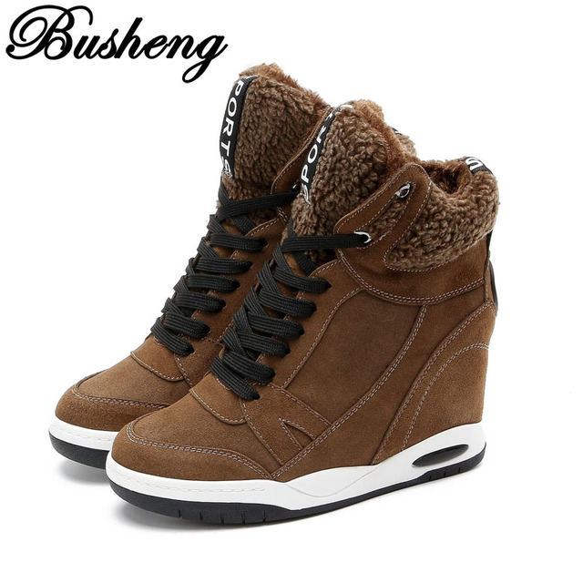 2016 Women's Casual Shoes Wedge Women Wedge Boots Shoes Zapatos Mujer Hidden Wedge Shoes Winter Ankle Boots For Women Busheng019