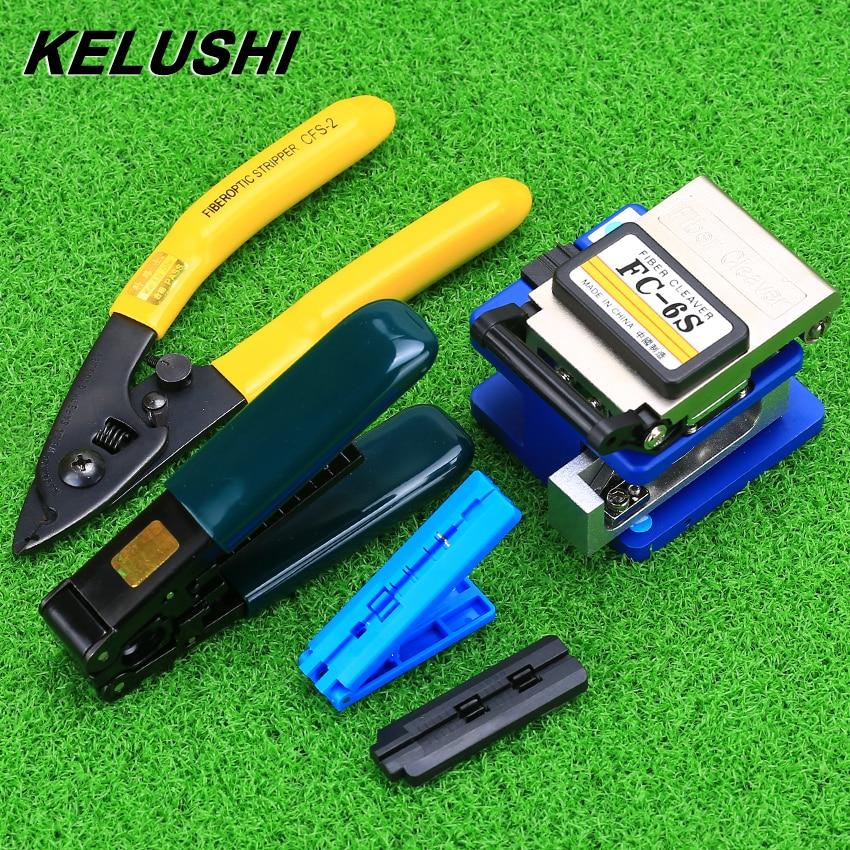 KELUSHI FTTH Fiber Optique Outils Ensemble Kits FC-6S Couperet et Double Trou CFS-2 Fiber Pinces Fiber Optique Câble Décapage