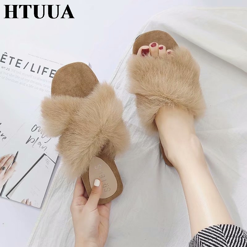HTUUA Fashion Fluffy Faux Fur Slippers Women Slides Flat Sandals Outdoor Indoor Floor Home Slippers Winter Summer Shoes SX1361