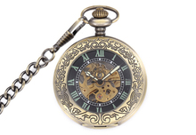 New Steampunk Roman Number Carbon Bronze Mechanical Pocket Watch