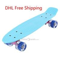 22 Inches Skate Board Banaan Stijl Mini Cruiser Lange Board Pastel Kleur Volwassen Kind Vis Skateboard met LED Knipperende Wielen