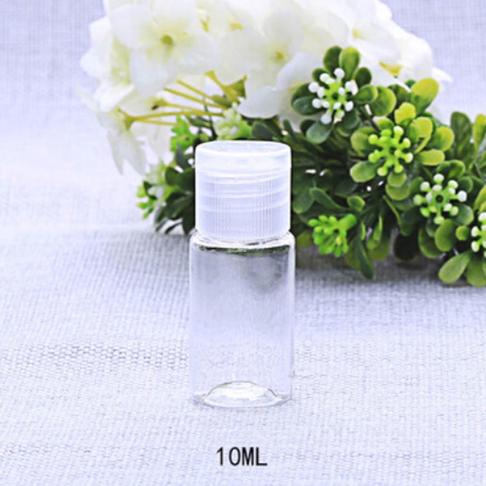 Купить с кэшбэком 10Pcs Mini Plastic Essential Oil Cream Sample Packaging Container Bottles Cosmetic Empty Bottle with flip cap 10ml