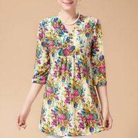 2017 nueva moda de la impresión floral verano de las mujeres de la blusa floja ocasional más el tamaño XL-5XL 3/4 V-cuello de la camisa de la manga tops para la mujer XT0027