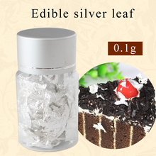 Edible silver leaf  small pieces real flakes edible decorative dishes cake 0.1gram per box