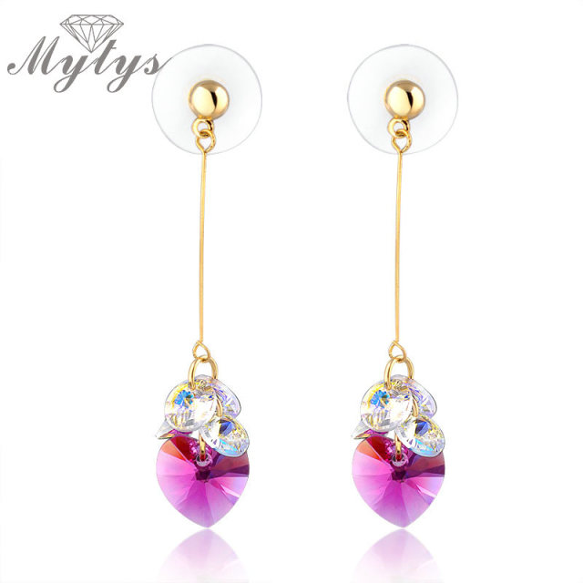 Mytys 2018 New Design Jewelry Cubic Red Heart Shape Crystal Dangle Earrings Drop Beauty Ce85