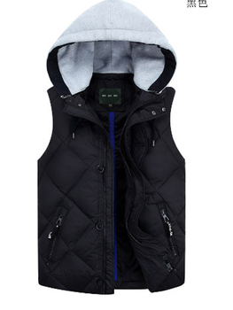 Down Vest  men casual fashion thickened down vest  with hood  jacket very large black male coat plus size M L XL 2XL3XL4XL5XL