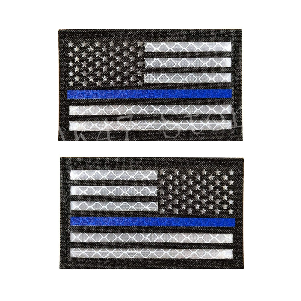AMERICAN USA FLAG EMROIDERED Reversed REFLECTIVE HOOK LOOP 2 pc PATCH