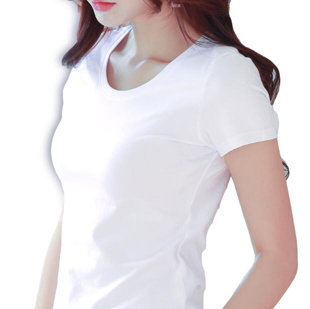 2018 Summer Women Casual Short-sleeved T-shirts Female shirt Plus Size S-3XL New Fashion Womens Cotton short white T-shirt
