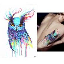 1 PC Waterproof Fake Temporary Tattoo Sticker HB361 Pretty Vivid Owl Pattern Size 14.8 x 21cm Body Art Tattoo For Girl Women Men