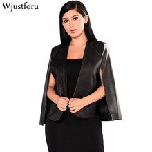 Фотография Wjustforu Fashion Blazer Women Coat Cloak Cape Black Lapel Split Long Sleeve Vogue PU Faux Leather Casual Jacket Female
