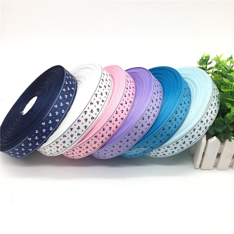 5 ярдов 1 «(25 мм) Ленты для свадебного украшения печати якорь Grosgrain лента для заворачивания подарка волосы луки DIY Рождество лента
