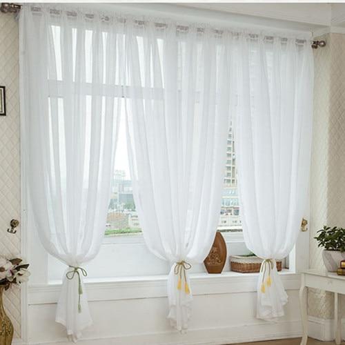 Tende In Organza Moderne.Modern Brief White Screens Linen Organza Voile Tulle Window