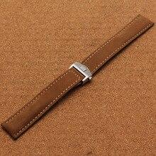 Nuevo Estilo de la venda de Reloj de plata hebilla de la marca de moda accesorios de los hombres correas de reloj 20mm correa marrón de cuero liso suave caliente