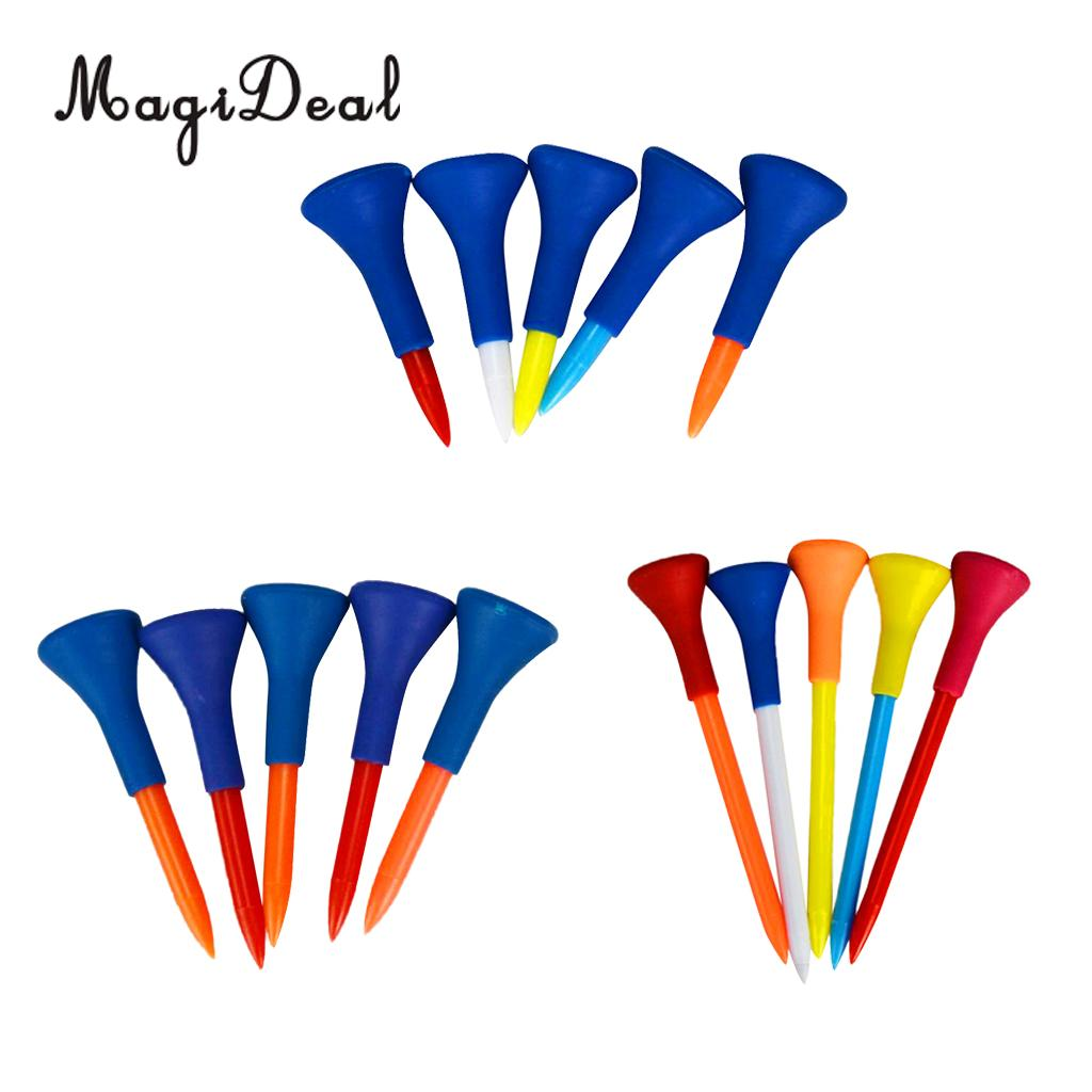 MagiDeal 15 Pieces Soft Rubber Cushion Top Golf Tees Random Color Mixed Length 42mm/54mm/83mm