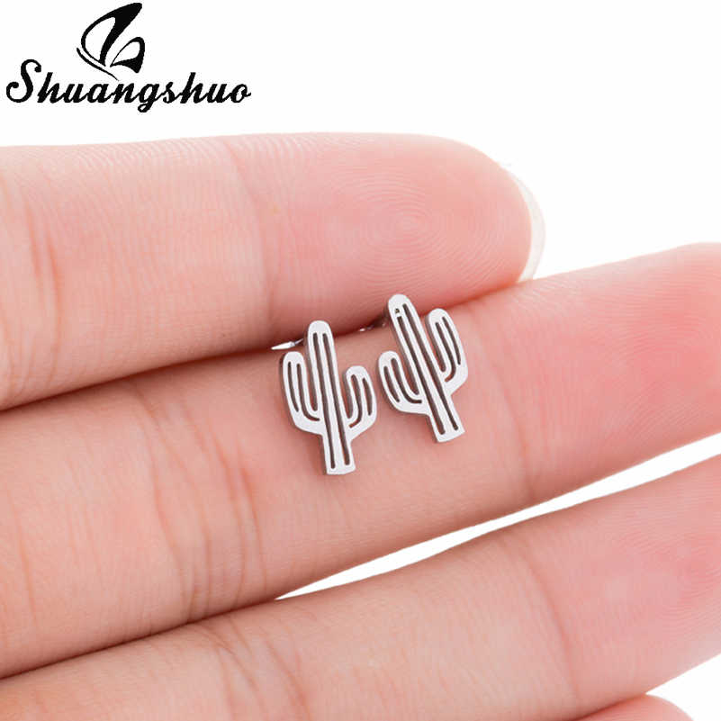 Shuangshuo Trending Cactus Stainless Steel Earrings for Women Plant Stud Earrings Silver Accessories Earings Fashion Jewelry