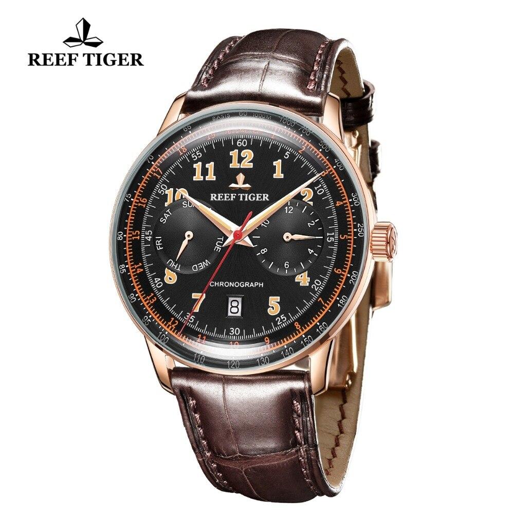 Риф Тигр/RT мужские классические часы для мужчин розовое золото многофункциональные часы сапфировое стекло автоматические часы RGA9122 - 2