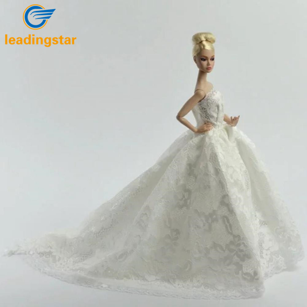 LeadingStar Beautiful White Princess Wedding Dress Noble Party Gown For Barbie Doll Fashion Outfit Best Gift Doll Toy Children z monkey foil balloon auto seal reuse party wedding decor inflatable gift for children