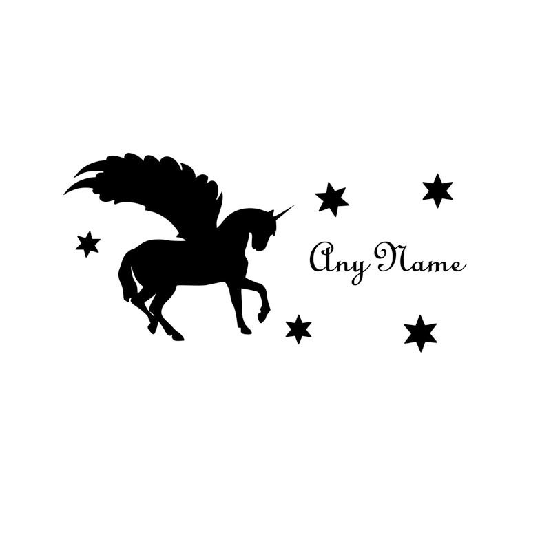 Custom name wall sticker unicorn decal horse with wings art mural for kids rooms removable vinyl silhouette wall decals za583 in wall stickers from home