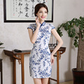 Chinese Traditional Summer Fashion Vintage Cheongsam Qipao Blue and White Porcelain Cotton Jacquard Dress Women Clothing